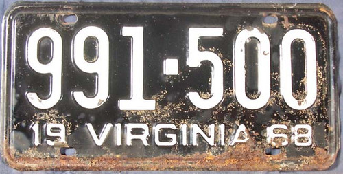 1968 Virginia 991-500 License Plate