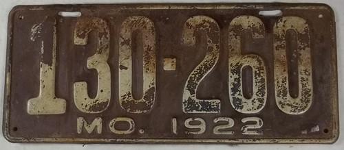 DMV Clear 1922 MISSOURI Passenger License Plate YOM Clear 130-260 MO