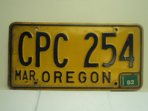1982 OREGON License Plate CPC 254