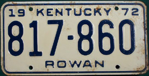 1972 Rowan Kentucky 817 860 License Plate