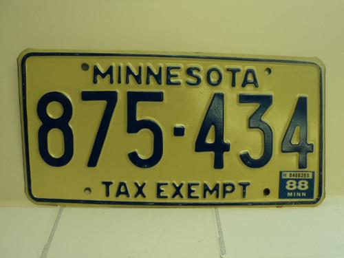 1988 MINNESOTA Tax Exempt License Plate 875 434