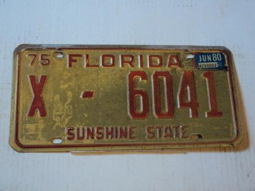 1975 1980 FLORIDA Sunshine State License Plate X 6041