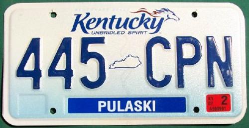 2007 Feb Pulaski Co Kentucky License Plate 445 CPN