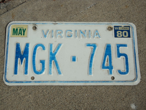 1980 VIRGINIA License Plate MGK 745