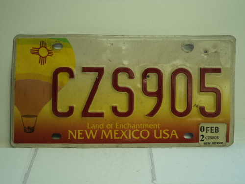 2002 NEW MEXICO Land of Enchantment License Plate CZS905