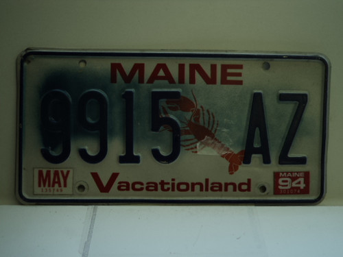 1994 MAINE Lobster Vacationland License Plate 9915 AZ