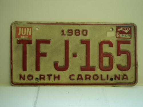 1980 1982 NORTH CAROLINA License Plate TFJ 165