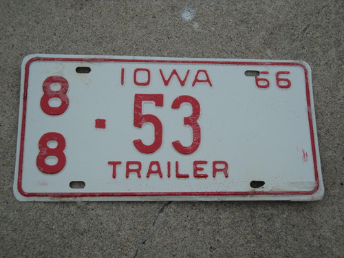 1966 IOWA Trailer License Plate 88 53