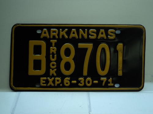 1971 ARKANSAS NOS Truck License Plate B 8701