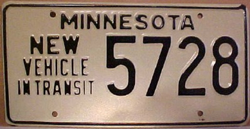 1980's Minnesota New Vehicle In Transit License Plate 5728