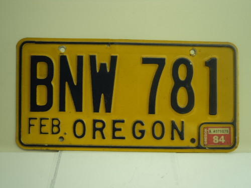 1984 OREGON License Plate BNW 781