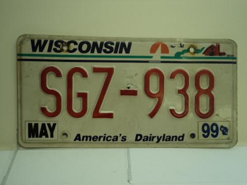 1999 WISCONSIN America's Dairyland License Plate SGZ 938