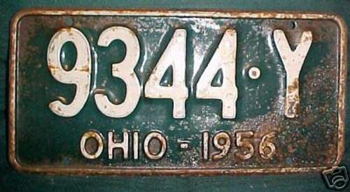 1956 Ohio 9344 Y License Plate