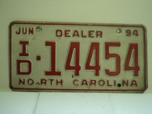 1994 NORTH CAROLINA Dealer License Plate ID 14454