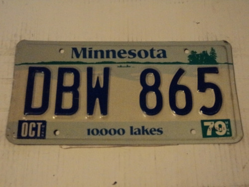1979 MINNESOTA 10,000 Lakes License Plate DBW 865