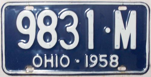 1958 Ohio 9831-M License Plate