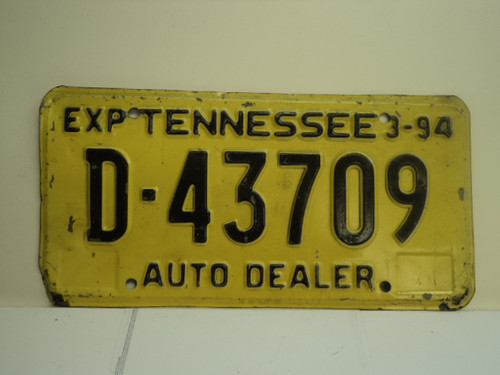1994 TENNESSEE License Plate D 43709
