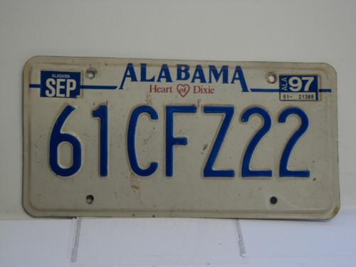 1997 ALABAMA Heart of Dixie License Plate 61CFZ22