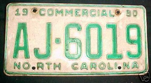 1990 North Carolina AJ-6019 Comm'l License Plate
