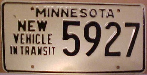 1980's Minnesota New Vehicle In Transit License Plate 5927