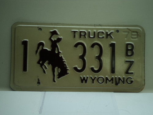 1978 Wyoming Truck License Plate 1 331 BZ