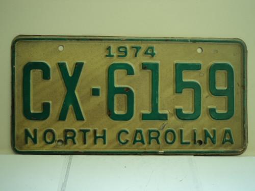 1974 NORTH CAROLINA License Plate CX 6159