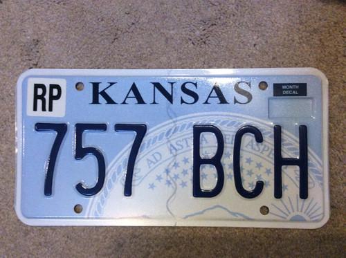 KANSAS Republic County License Plate 757-BCH