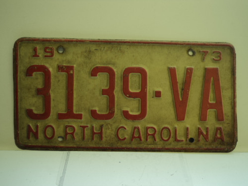 1973 NORTH CAROLINA License Plate 3139 VA