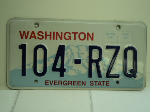 WASHINGTON Evergreen State License Plate 104 RZQ