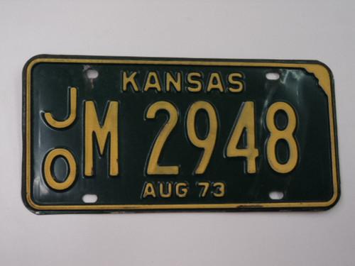 1973 KANSAS License Plate JO M 2948