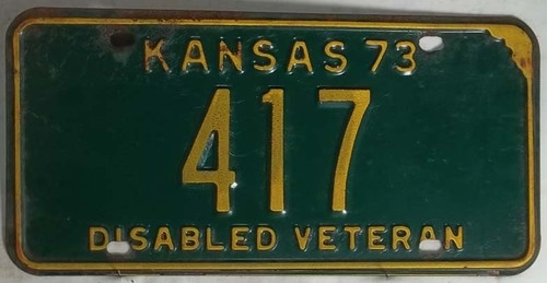 1973 417 Disabled Veteran Kansas License Plate