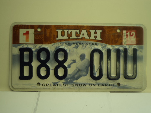 2012 UTAH Greatest Snow on Earth License Plate B88 0UU