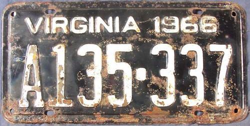 1966 Virginia A135-337 License Plate