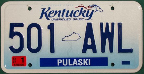 2007 Jan Pulaski Co Kentucky License Plate 501 AWL