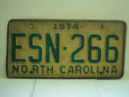 1974 NORTH CAROLINA License Plate ESN 266