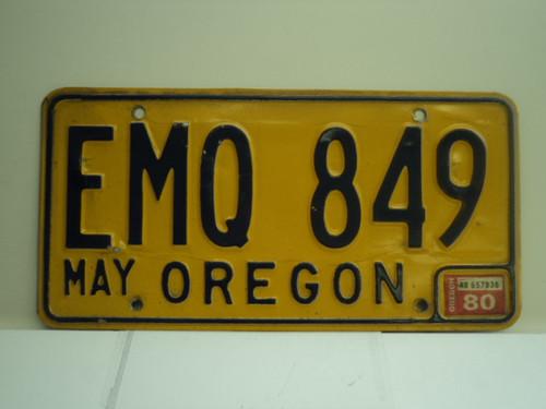 1980 OREGON License Plate EMQ 849