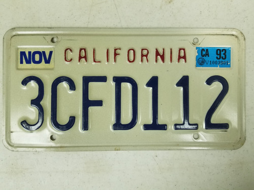 1993 California License Plate 3CFD112