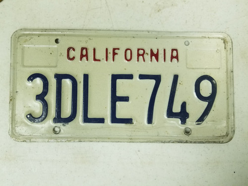 California License Plate 3DLE749
