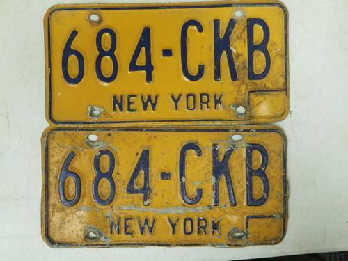 New York License Plate 684-CKB Pair