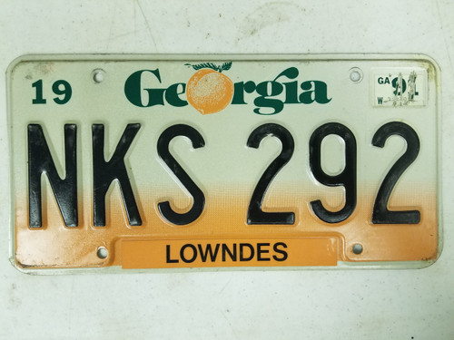 1991 Georgia Lowndes County License Plate NKS 292