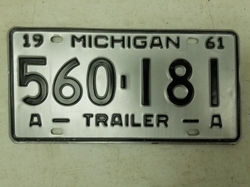 1961 Michigan Trailer License Plate 560-181