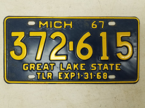 1967 Michigan Great Lake State Trailer License Plate 372-615