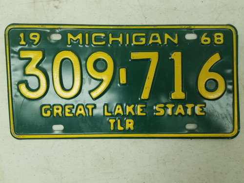 1968 Michigan Great Lake State Trailer License Plate 309-716