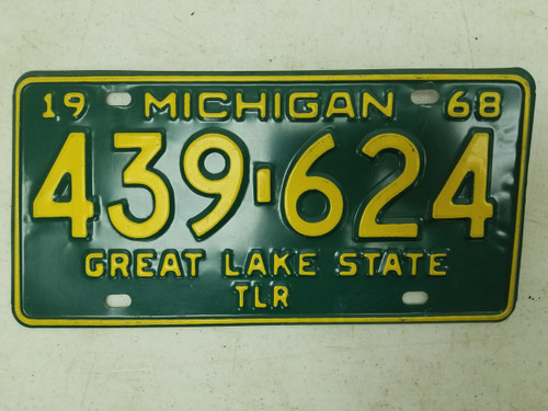 1968 Michigan Great Lake State Trailer License Plate 439-624