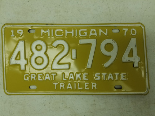 1970 Michigan Great Lake State Trailer License Plate 482-794