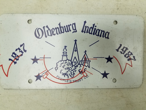 1837-1987 Oldenburg Indiana People's Trust Company Booster License Plate