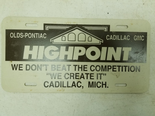 Highpoint Cadillac, Michigan Booster License Plate