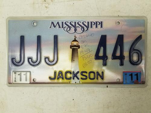 2011 Mississippi Jackson County License Plate JJJ 446 Triple J
