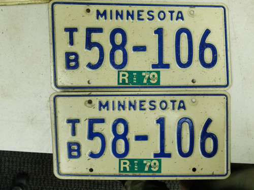 1979 Minnesota License Plate 58-106 Pair
