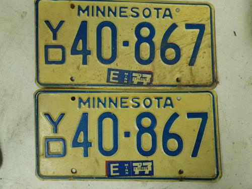 1977 Minnesota License Plate 40-867 Pair